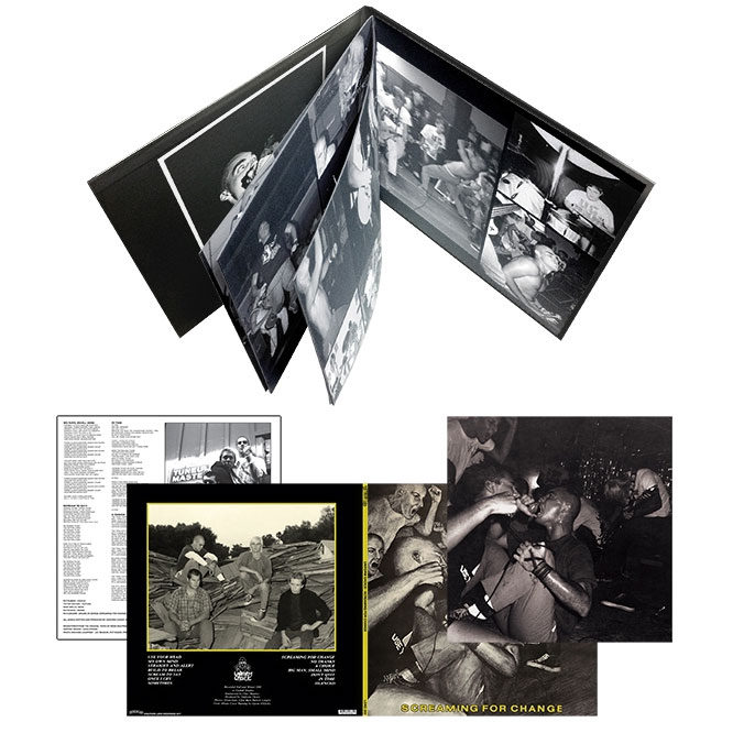 "Screaming For Change - packaging includes a 8 page 12""x12"" booklet bound into a stoughton tip-on gatefold jacket"