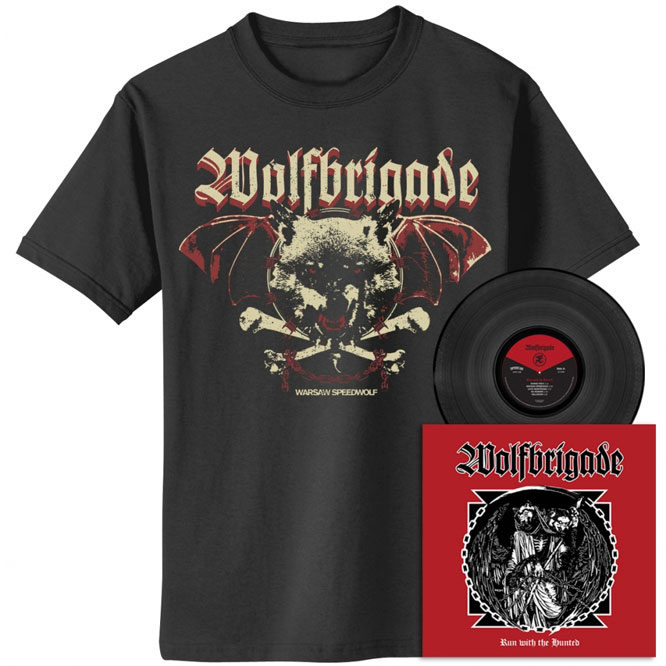 Wolfbrigade – Run With The Hunted - Black Vinyl with Warsaw Speedwolf Vintage Style Shirt
